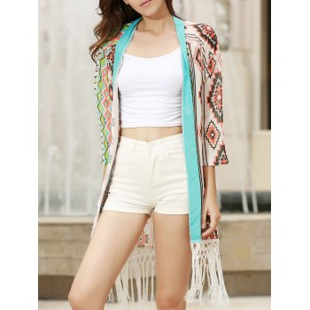 Stylish Collarless 3/4 Sleeve Fringed Printed Women's Kimono Blouse