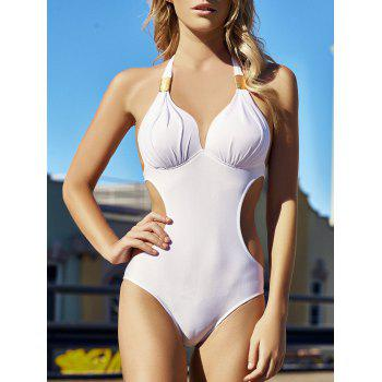 Sexy Style Halter Solid Color One-Piece Swimsuit For Women - WHITE XL