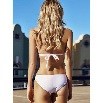 Sexy Style Halter Solid Color One-Piece Swimsuit For Women - WHITE WHITE