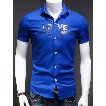 Men's Simple Turn-Down Collar Letter Printed Short Sleeves Shirt