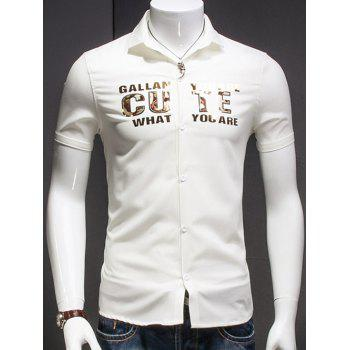 Men's Turn-Down Collar Letter Printed Short Sleeves Shirt
