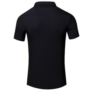 Men's Simple Turn-Down Collar Letter Printed Pocket Design Short Sleeves Shirt - BLACK M