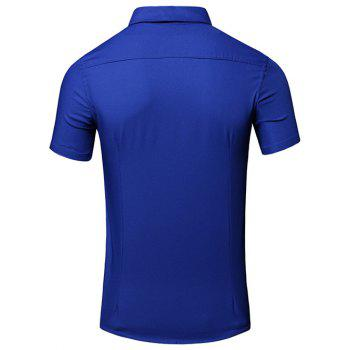 Men's Simple Turn-Down Collar Letter Printed Pocket Design Short Sleeves Shirt - BLUE L