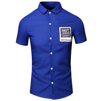 Men's Simple Turn-Down Collar Letter Printed Pocket Design Short Sleeves Shirt