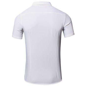 Men 's  simple col rabattu Lettre Imprimé conception de poche manches courtes T-shirt - Blanc 2XL