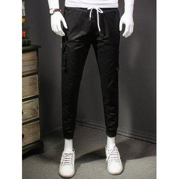 Men's Lace-Up Muiti-pockets Slimming Elastic Cuffs Narrow Feet Long Pants