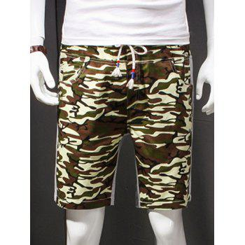 Men's Camouflage Style Lace-Up Slimming Elastic Shorts