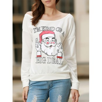 Chic Long Sleeve One-Shoulder Santa Claus Print Women's Christmas Sweatshirt