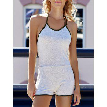 Trendy Sleeveless Backless Halter Romper For Women