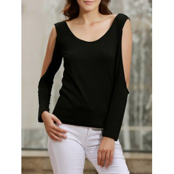Charming Backless Criss-Cross Cut Out Long Sleeve Solid Color T-Shirt For Women
