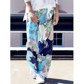 Fashionable Mid-Waisted Loose-Fitting Floral Print Women's Pants