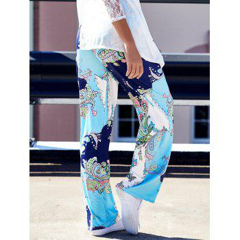 Fashionable Mid-Waisted Loose-Fitting Floral Print Women's Pants - COLORMIX XL