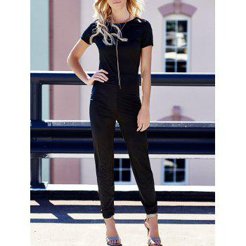 Sexy Scoop Neck Solid Color Backless Hollow Out Short Sleeve Women's Jumpsuit