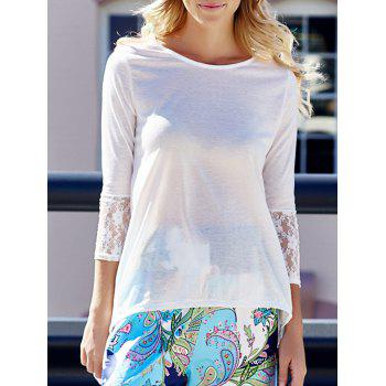 Charming Round Collar Lace Irregular Hem Women's Long Sleeve White Blouse