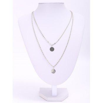 Sweet Round Paillette Pendant Double-Layer Necklace For Women