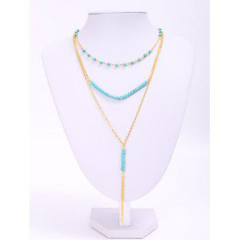Trendy Turquoise Beads Tassel Layered Women's Necklace