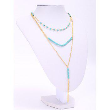 Trendy Turquoise Beads Tassel Layered Women's Necklace - GOLDEN