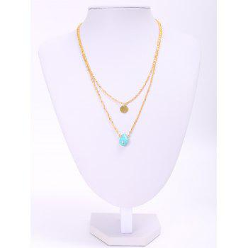 Trendy Waterdrop Shape Turquoise Double-Layered Women's Necklace