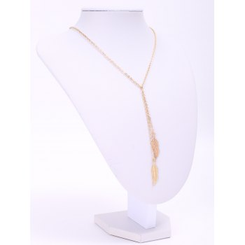 Feather Pendant Necklace - GOLDEN