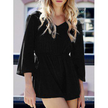 Stylish Women's V-Neck Flare Sleeve Solid Color Backless Romper