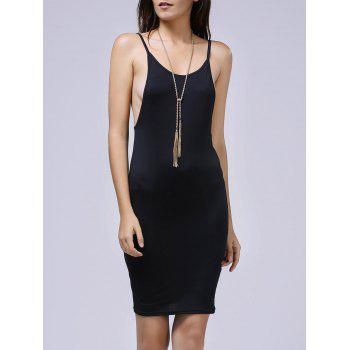Chic Spaghetti Strap Side Boob Backless Bodycon Dress For Women