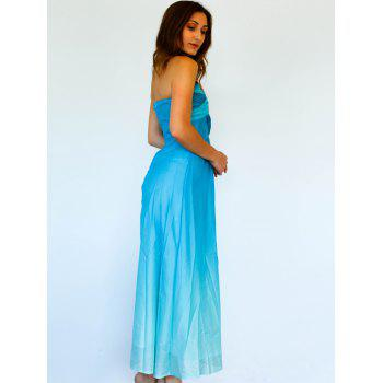 Chic Sleeveless Strapless Ombre Women's Maxi Dress - AZURE XL
