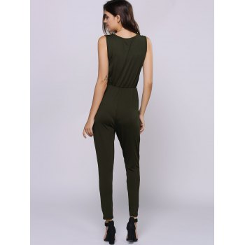 Simple Style Jewel Neck Sleeveless Zipper Decorated Jumpsuit For Women - ARMY GREEN S