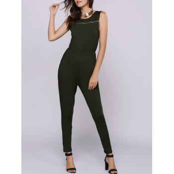 Simple Style Jewel Neck Sleeveless Zipper Decorated Jumpsuit For Women