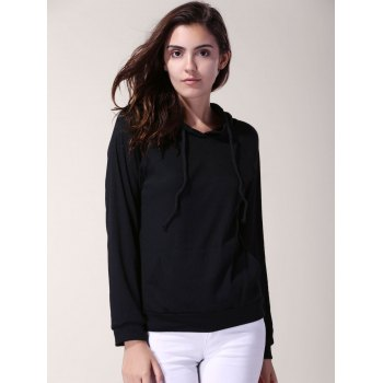 Stylish Hooded Solid Color Long Sleeve Loose Hoodie For Women - 2XL 2XL