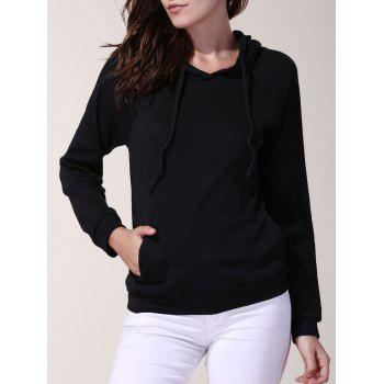 Stylish Hooded Solid Color Long Sleeve Loose Hoodie For Women