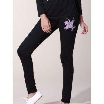 Attractive Horse Printed Slash Neck T-Shirt and Elastic Waist Pants Twinset For Women