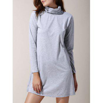 Fresh Style Turtleneck Long Sleeve Solid Color Mini Dress For Women