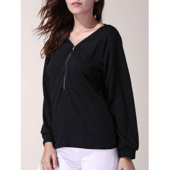Stylish 3/4 Sleeve V-Neck Solid Color Zippered Women's T-Shirt