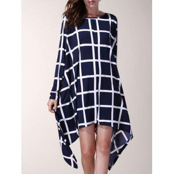 Stylish Plaid Printed Round Collar Long Sleeve Slit Irregular Dress For Women