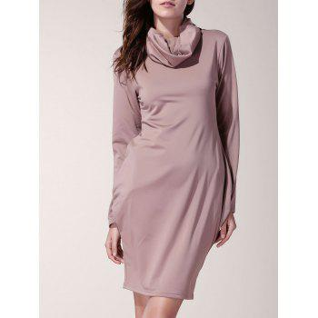 Casual Solid Color Cowl Neck Long Sleeve Dress For Women
