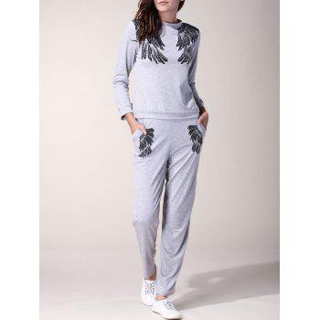 Casual Wings Printed Long Sleeve Pullover Sweatshirt and Jogger Pants Twinset For Women
