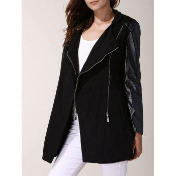 Charming Stand Collar Zippered Faux Leather Spliced Wool Coat For Women
