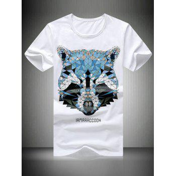 Plus Size Round Neck Bear Head Printed Short Sleeve Men's T-Shirt - WHITE 2XL
