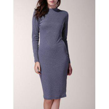 Long Sleeve Pure Color Round Neck Dress For Women - DEEP GRAY S