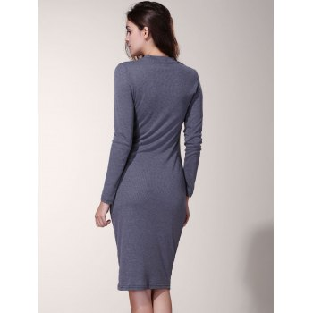Long Sleeve Pure Color Round Neck Dress For Women - S S