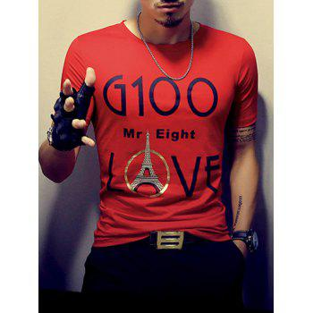Stylish Round Neck Tower Printed Short Sleeve Men's T-Shirt - RED XL