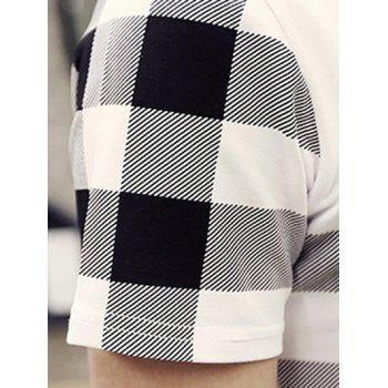 Stylish Round Neck Checked Pattern Short Sleeve Men's T-Shirt - WHITE WHITE