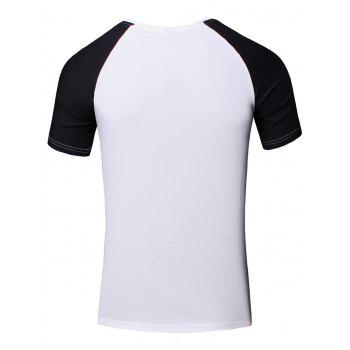 Sporty Round Neck Splicing Short Sleeve T-Shirt For Men - L L
