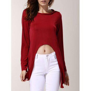Trendy Red Skew Collar Long Sleeve T-Shirt For Women