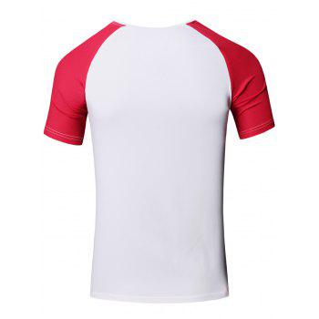 Sporty Round Neck Splicing Short Sleeve T-Shirt For Men - RED RED