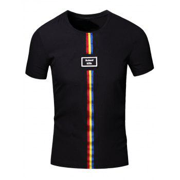 Personality Round Neck Colored Stripes Center Line Short Sleeve T-Shirt For Men - BLACK L