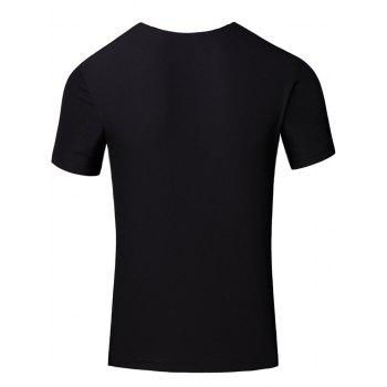 Personality Round Neck Colored Stripes Center Line Short Sleeve T-Shirt For Men - BLACK BLACK