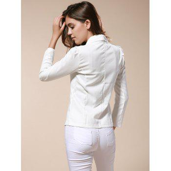 Elegant and Slim Bowknot White Long Sleeves Cotton Blend Fabric Coat For Women - WHITE M