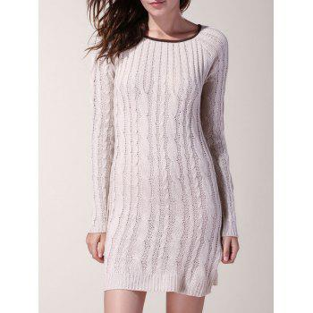 Sweet Spliced Scoop Neck Long Sleeve Sweater For Women