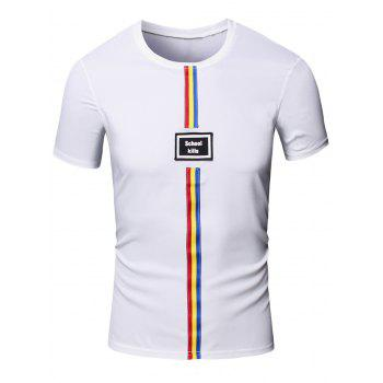 Personality Round Neck Colored Stripes Center Line Short Sleeve T-Shirt For Men